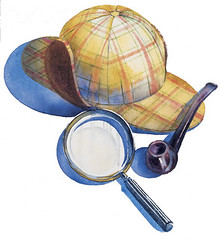 Sherlock Holmes Hat, Pipe and Magnifying glass