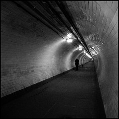 Break On Through (To The Other Side) (fotografika phantastika) Tags: woman dog london canon walking powershot thedoors greenwichfoottunnel a540 underthethames southtonorth headingbacktocivilisationiethenorthside