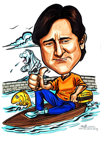 Caricature for Yamaha on boat