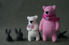 great and bigger (em.karmatank) Tags: bear pink white wool scarf felt karma needlefelt swarovsky