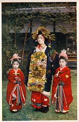 Oiran with with two child attendants (kamuro) (noel43) Tags: japan japanese district prostitute prostitution redlight pleasure meiji courtesan yoshiwara taisho oiran tayu tayuu kamuro