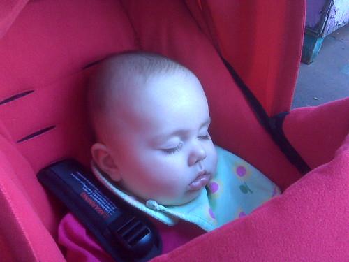 Enjoying her new stroller