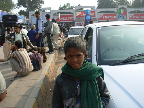 A child at the Delhi Railway Station