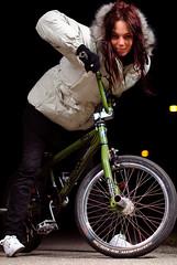 BMX Girl (Sieber03) Tags: light woman white black girl smile face bike contrast dark hair fur 50mm model eyes aperture nikon bmx close bokeh barrel sb600 shutter meter lightmeter facial 14g d80 strobist sb900