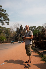 Me outside one of the gates (Christian Haugen) Tags: travel cambodia backpacking angkor backpacker rtw tugofwar angkorthom aroundtheworld churningoftheseaofmilk 175days