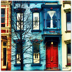 18th Century Houses (Ronaldo F Cabuhat) Tags: life travel blue windows red vacation urban orange house green love colors canon vintage happy photography hope vines scenery colorful doors pics antique bricks joy picture citylife happiness visit scene images neighborhood oldhouse photographs albanyny urbanlife urbanliving vintagehouse 19thcenturyhouses canoneosdigitalrebelxti 18thcenturyhouses cabuhat houseneighbor