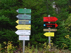 Lake Placid, NY - Mt. Van Hoevenberg trail markers (Guenther Lutz) Tags: signs 2004 october impact newyorkstate northeast adirondaks mtvanhoevenberg