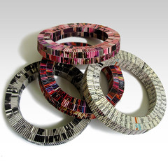 SOLIDO bracelets (frucci) Tags: pink red orange white black paper handmade jewelry jewellery round bracelet folded woven ecofriendly recycledpaper solido eyewashdesign upcycled magazinepages bracciali fruccidesign