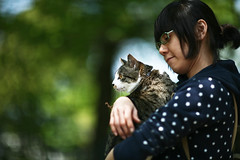 Spica's outside debut_01 (yugoroyd) Tags: portrait cats green canon eos kitten dof bokeh 85mm l 5d usm ef f12 ef85mm f12l