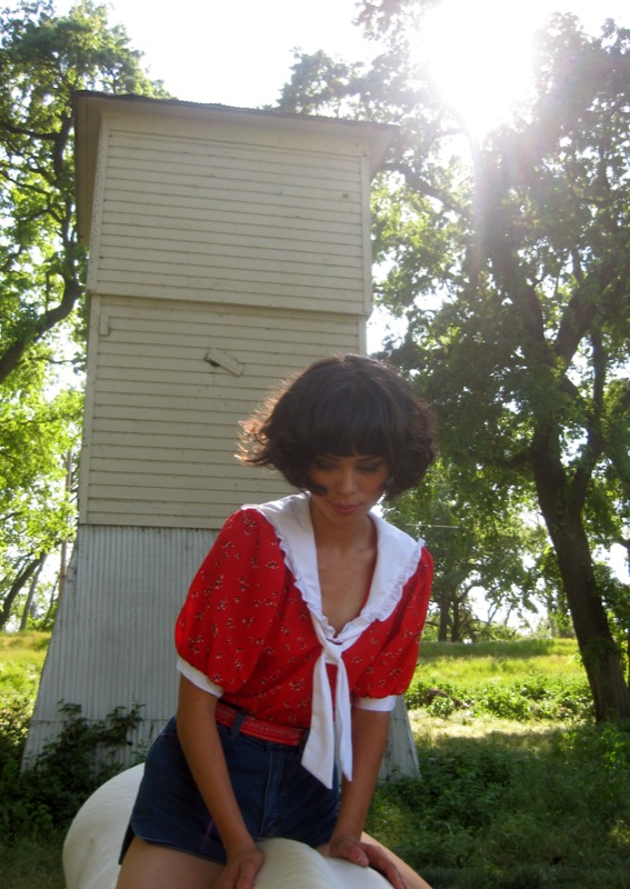 red floral sailor top