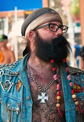 Indian (Lil Wally) Tags: man tattoo ink beard glasses necklace indian chest jacket denim biker tat braided tats dewrag