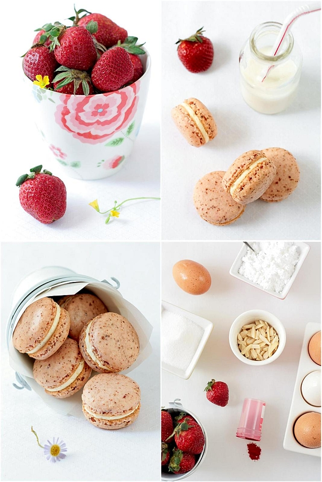 Dried Strawberry Macarons
