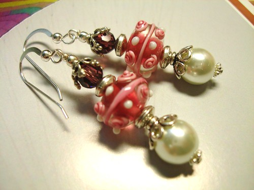 #GBER146= GIRL'S BEST FRIEND SGD$30  Lampwork Earrings
