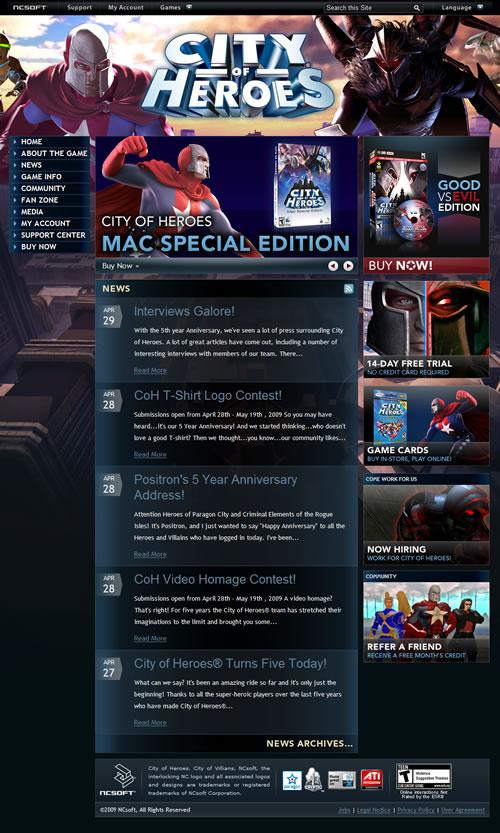 City of Heroes Home Page