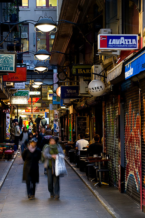 Walking along the cafes and restaurants of Cenre Place, a laneway in Melbourne