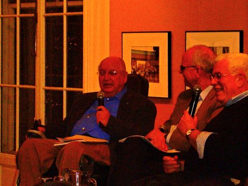 Michael Graves, David Childs, and Peter Eisenman share a laugh at the Urban Center.
