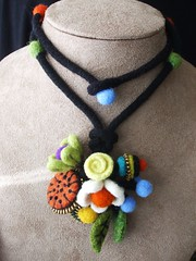 A necklace (woolly  fabulous) Tags: flowers wool felted necklace colorful recycled handmade felt zipper thrifted
