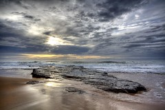 Sun Breaking Through (Irene Nagayo) Tags: ocean sea sky storm nature water rock landscape waves sydney northernbeaches