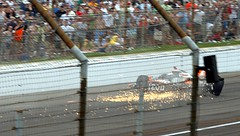 Ryan Hunter-Reay caroming off the Turn 4 walls.