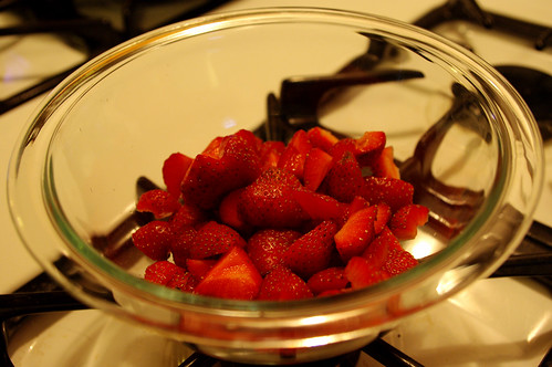 Hulled and sliced strawberries