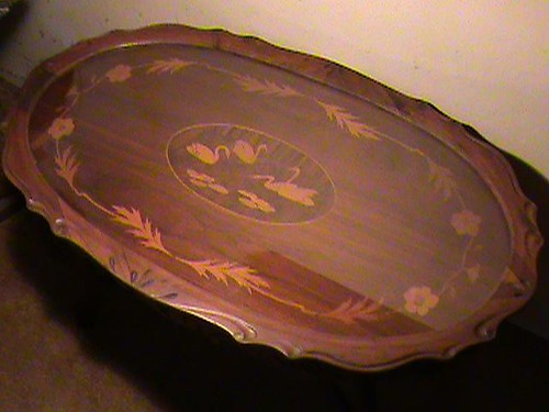 MOVING SALE:  COFFEE TABLE WITH IN-LAID SWAN'S & GLASS COVER