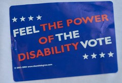 Feel the power of the disability vote - Protest of California health care budget cuts
