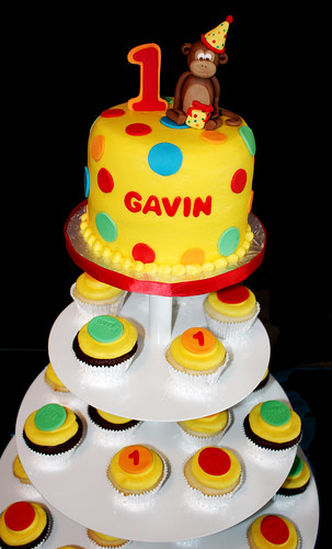 1st birthday bright polka dots cupcake tower with monkey topper