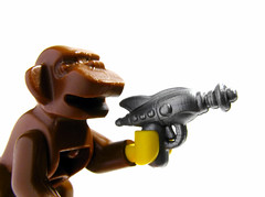OK, who gave the monkey a ray gun?! (olo) Tags: monkey lego space explore prototype sample scifi minifig weapons raygun preview brickarms freebap