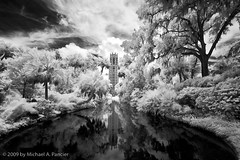 The Singing Tower IR - 02 (Michael Pancier Photography) Tags: bw florida belltower infrared fineartphotography naturephotography seor nationalhistoriclandmark lakewales boktowergardens carillontower naturephotographer singingtower historicboksanctuary infraredblackandwhite floridaphotographer michaelpancier michaelpancierphotography summer2009 wwwmichaelpancierphotographycom seorcohiba