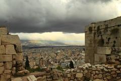 Storm over Athens (Bruce Poole) Tags: europe athens tourist traveller greece acropoli acropolis athena arco arcenciel akropolis cloudes akropoli helenic worldtrekker martesdenubes iridato brucepoole lesnues magrygianni