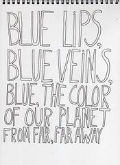 BLUE LIPS (Emily-Isa Baker) Tags: moleskine pen book lyrics drawing boredom line note doodle