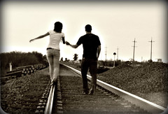 Matthew and I (youneverknowphotography) Tags: california wood old railroad boy sunset cute film girl sepia outside photography evening model friend couple rocks pretty outdoor dusk country models tracks adorable rail negative northern bushes picnik outskirts outskirt
