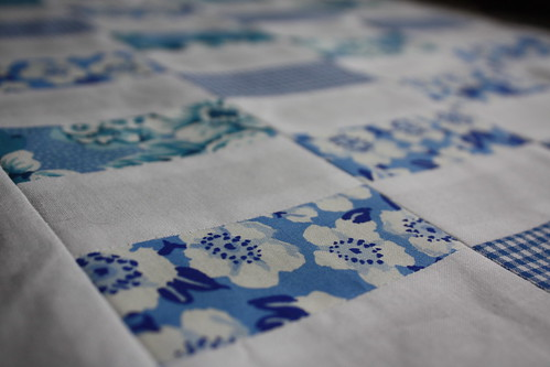 blue coin quilt top