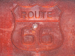 Texture No. 4 Route 66 Shield (Caveman Chuck Coker) Tags: california us route66 rust iron 66 route area cadiz summit rest danby chambless usroute66