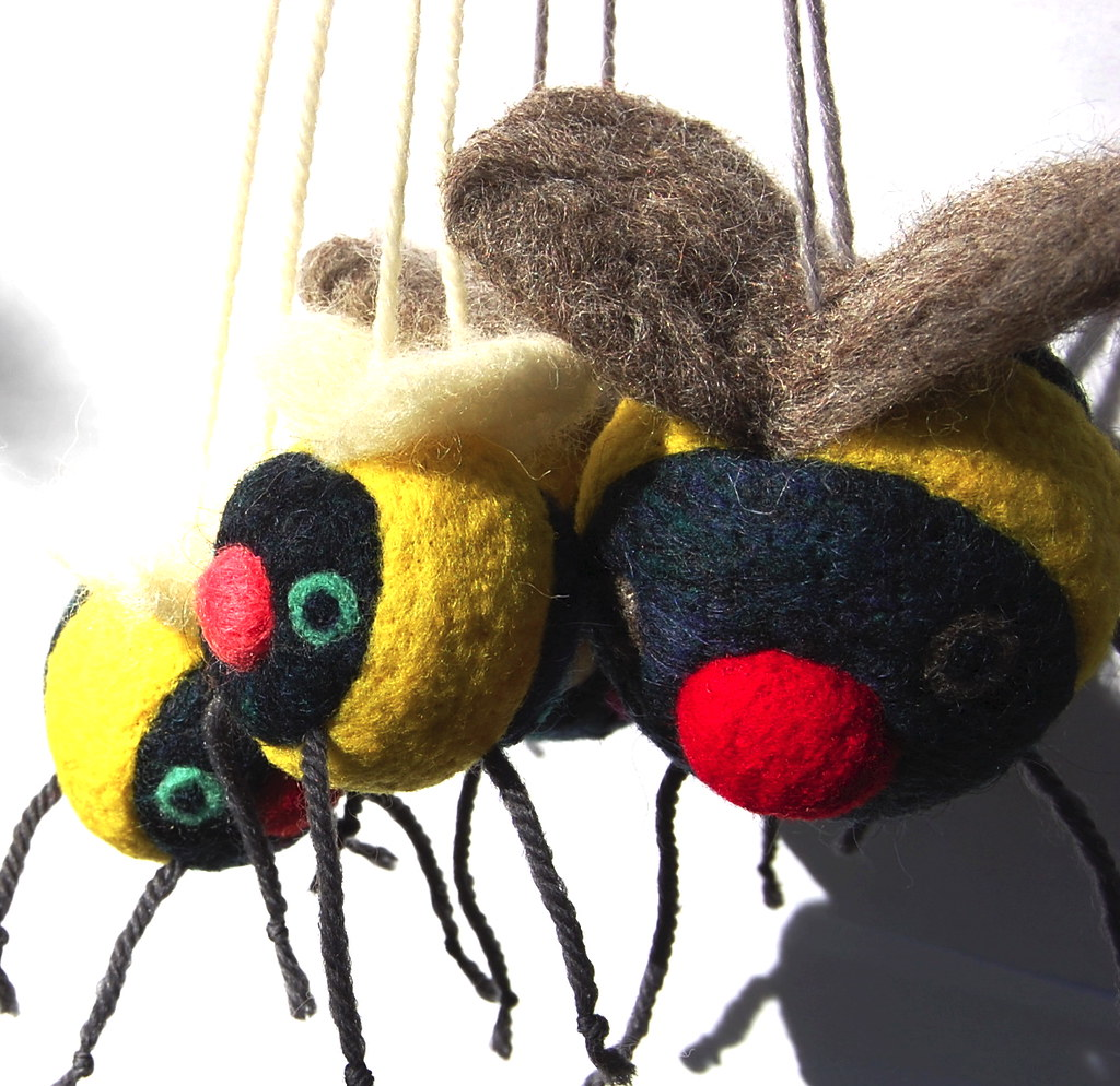 Family of Felted Wool Bees
