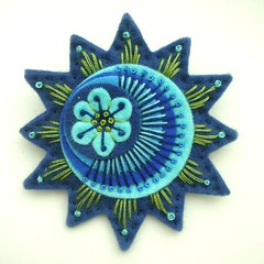 STARBURST FELT BROOCH IN FRENCH NAVY (APPLIQUE-designedbyjane) Tags: french star embroidery brooch navy felt