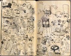 moleskine madness (jimbradshaw) Tags: moleskine pencil drawing cartoon sketchbook robots doodle characters draw creatures jimbradshaw
