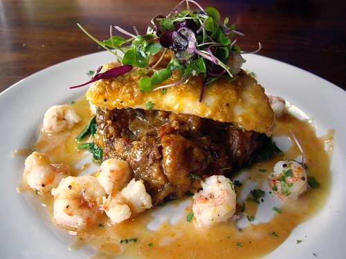 Pan Roasted Florida Black Grouper with Rock Shrimp – Plantain Fufu, Blistered Spinach, and Citrus Dulce de Leche