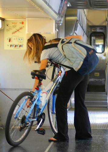 Empty Caltrain bike car