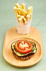 "Buckwheat and Eggplant ""Burger"" with Tofu ""Fries"" (ImageliciousPhotography) Tags: vegan eggplant tofu fries buckwheat"