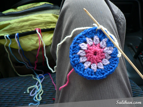 Crocheting Hexagons in the Car