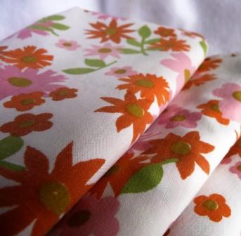 vintage pink, white, orange & green floral fabric