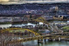 Convergence of bridges (Dave DiCello) Tags: park city bridge trees ohio beautiful sign del photoshop point landscape high nikon highway flickr downtown pittsburgh cityscape dynamic cs2 baseball fort pirates explorer tripod rivers monte nikkor pitt tunnels range hdr allegheny duquesne monongah