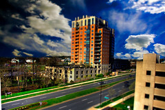 106:365 - HDR tilt-shift (cavale) Tags: building tree cars nova architecture photoshop buildings virginia office comm