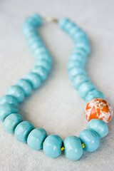 You-Can-Try-to-Swim-the-Sea (haroldandjane.etsy) Tags: ocean pink blue summer rose vintage fun cord gold golden necklace spring aqua handmade turquoise teal unique ooak peach silk flake jewelry bleu jewlery brass playful flecked chunky bluegreen jewellry lucite knotted magnesite