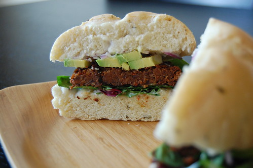 Black Bean Burger on Rosemary Focaccia
