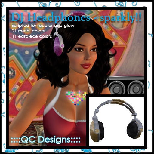 ::::QC Designs:::: DJ Headphones - Sparkly!!