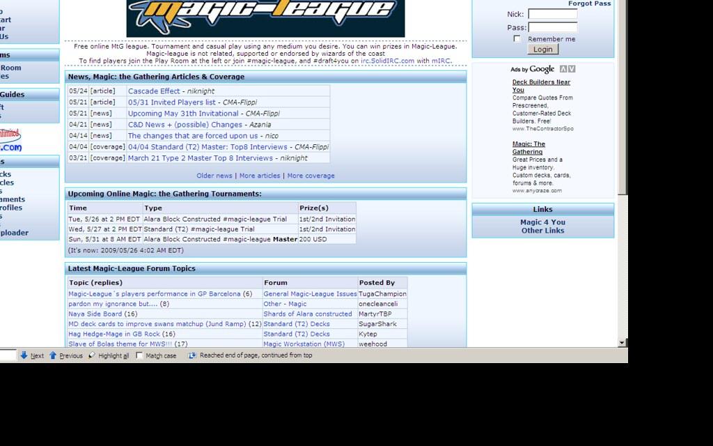 Mtgo league schedule