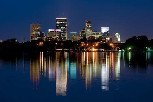 Minneapolis Skyline Over Lake Calhoun at Night