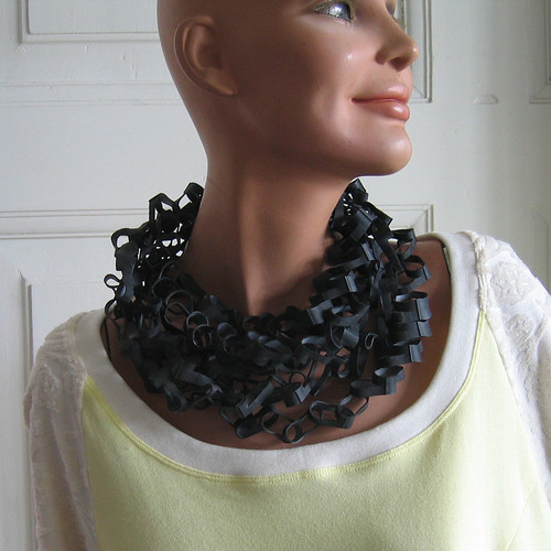 Bike inner tube necklace